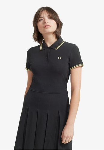 FRED PERRY black D7404 - Pleated Pique Tennis Dress - (Black/Champagne) E39CBAAF892584GS_1