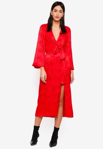 TOPSHOP red Snake Jacquard Knot Midi Dress 94D9DAA380C64EGS_1