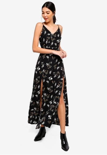 ZALORA black and multi Cami Maxi Dress With High Slits 9006BAA8377C49GS_1