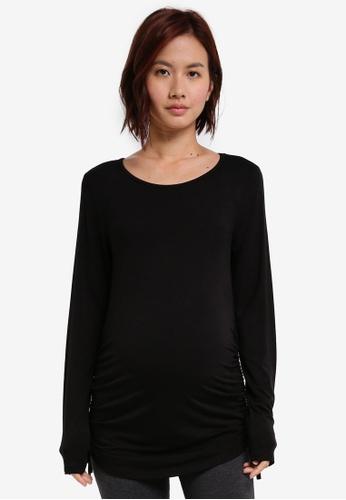 JoJo Maman Bébé black Maternity Side Gathered Top 49DDDAAB300F71GS_1