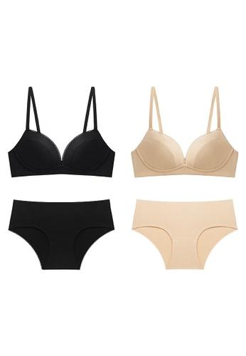 K.Excellence beige Premium Comforn Black&beige Lingerie Set (Bra and Underwear) 96370US910E88CGS_1