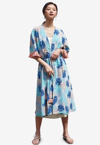NAIN blue and multi Printed Fringe Robe 52353AA7E3F17FGS_1