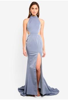 136ad239c84 Elle Zeitoune grey High Neck Figure Hugging Cut Out Detail Gown  34D6CAA9D55941GS 1