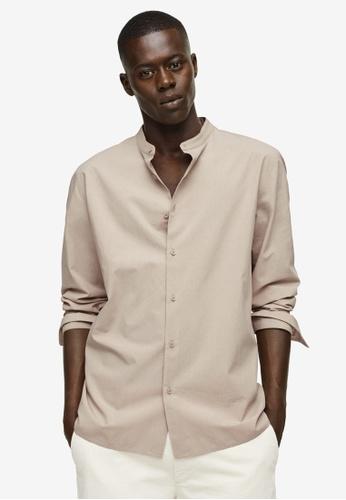 MANGO Man beige Mandarin Collar Cotton Lyocell Shirt 1E4F7AABF65075GS_1