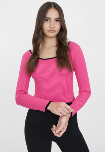 Pomelo pink Tie Open Back Ribbed Top - Pink 5AE03AAB704033GS_1