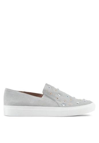 Miss Selfridge grey Effie Embellished Skater Shoes 3982ASH789C762GS_1
