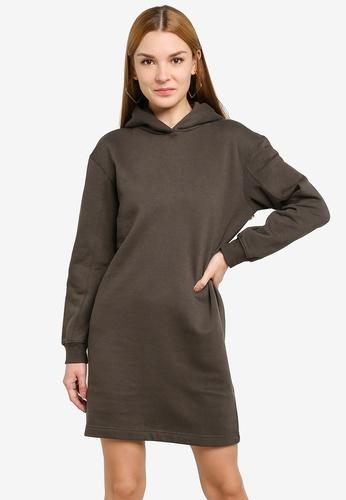 JACQUELINE DE YONG black and grey Line Life Hood Sweat Dress 3E669AA21FD00BGS_1