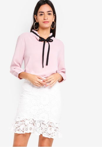 ZALORA pink Tie Neck Blouse With Ruffled Detail 22316AAF8E823EGS_1