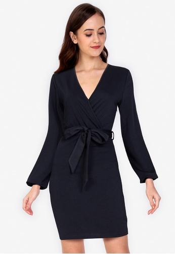 ZALORA WORK navy Long Sleeve Wrap Dress 69DAFAAE4AE4DAGS_1
