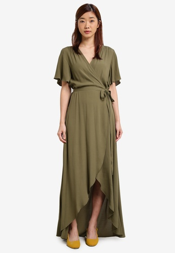 ZALORA green Asymmetrical Hem Wrap Dress 3A38BZZBB0AFE6GS_1