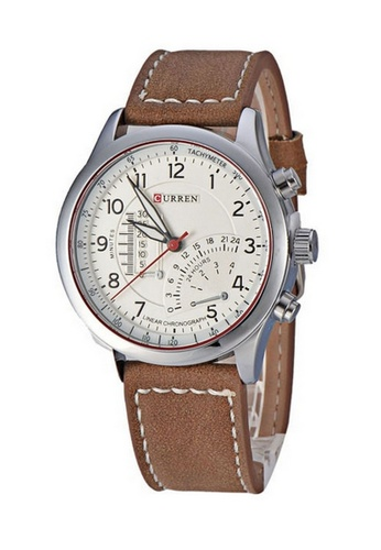 curren white and silver Curren 8152 Men's Sporty Leather Strap Watch (Silver White) CU537AC42RPPMY_1
