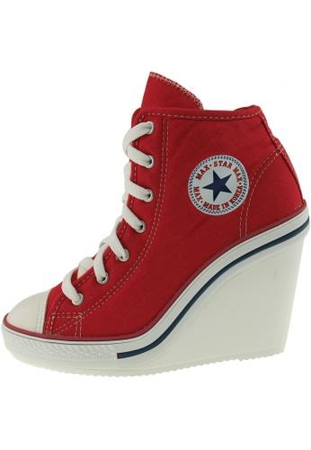 Maxstar Maxstar Women's 777 Side Zipper Canvas High Wedge Heel Sneakers US Women Size MA168SH65BSCHK_1