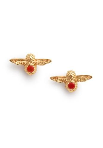 Olivia Burton multi Celebration Bee Studs Gold  Red Agate OBJAME101 9A581AC9678B8EGS_1
