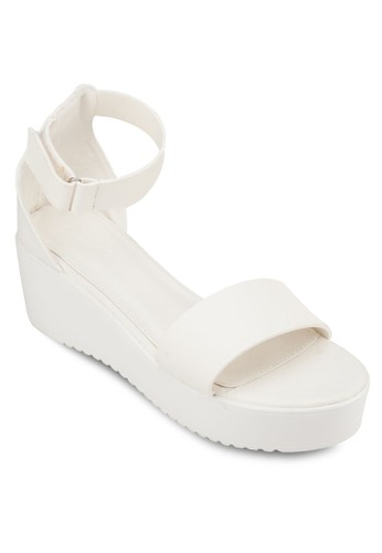 Tyrazalora退貨 一字帶繞踝厚底涼鞋, 女鞋, 楔形涼鞋