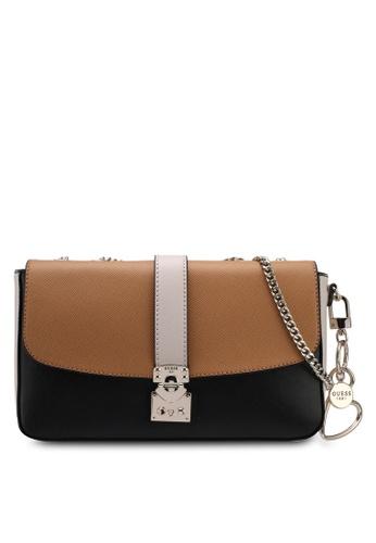 Guess black and multi Joslyn Convertible Crossbody Flap Bag 38127AC80076B9GS_1
