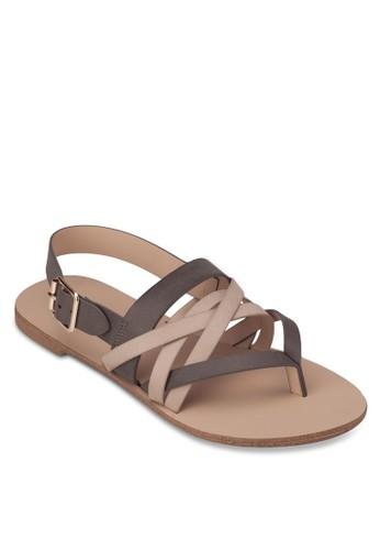 撞色多帶夾趾平底涼鞋, 女zalora 評價鞋, 涼鞋