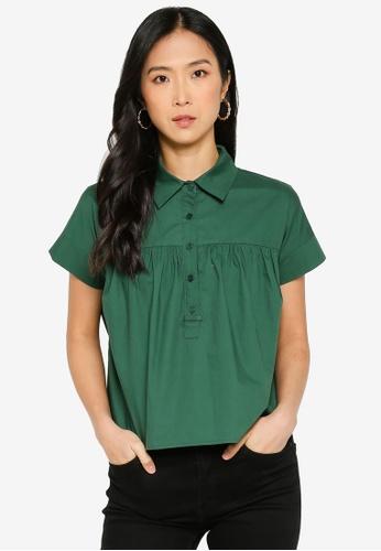 ZALORA BASICS 綠色 Shirred Yoke Popover Top 9A85CAAF285145GS_1