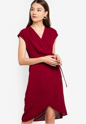 ZALORA red Overlap Extended Sleeves Dress 05D84AA6764350GS_1