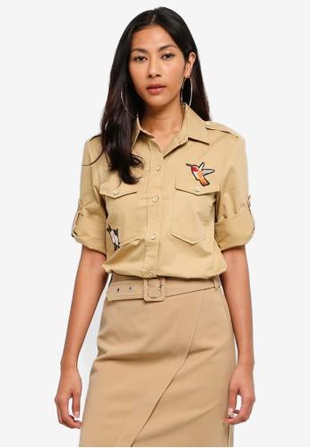 Hopeshow beige Capri Sleeve Button Shirt 79CC6AAECF3BFDGS_1