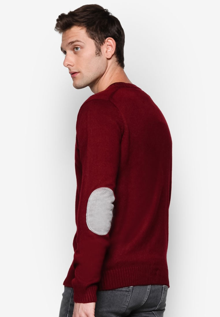 Basic V-Neck Sweater With Elbow Patches