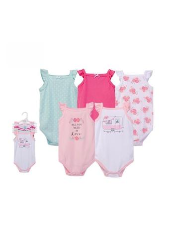 Little Kooma pink Baby Girl Cami Bodysuit 5 Piece Pack Pink Happy Camper 55839 - 1204 D4420KABDDD83BGS_1