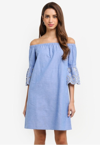 Dorothy Perkins blue Chambray Broderie Bardot Dress BC030AAA948314GS_1