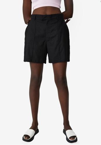Cotton On black Darcy Tailored Linen Blend Shorts E5EF6AA15E4EC4GS_1