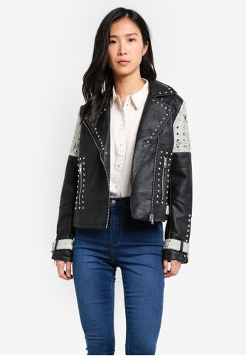 TOPSHOP black Studded Biker Jacket TO412AA0SHI2MY_1
