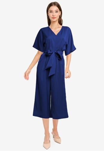 ZALORA WORK navy Kimono Sleeves Jumpsuit DC975AA6BAE3F0GS_1