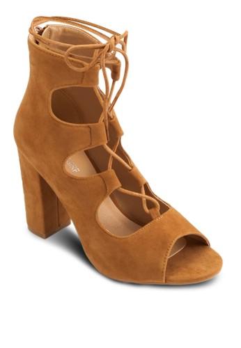 esprit台北門市繫帶鏤空露趾粗高跟鞋, 女鞋, 鞋