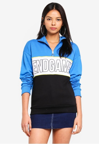 Factorie blue Funnel Neck Zip Jumper CEBBCAA43967EFGS_1