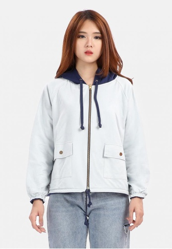 MKY Clothing blue MKY Reversible Suede Jacket with Hoody 721BDAADE112BCGS_1