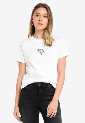 Something Borrowed white Side Slit Tee with Embroidery CEF9AAACD8F262GS_1