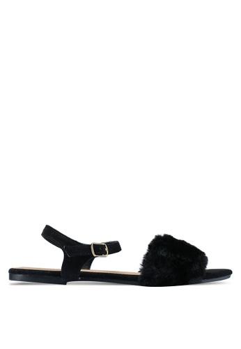 Rubi 黑色 Bianca Fluffy Sandals 90764SH8D869DBGS_1