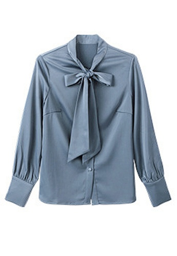 Twenty Eight Shoes grey VANSA  Tie Bow Long Sleeves Blouse VCW-Bs87016 48436AA62FF47CGS_1