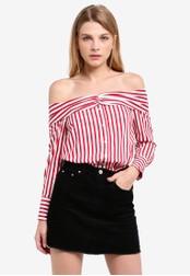 Miss Selfridge red Striped Deconstructed Shirt MI665AA0RSU8MY_1