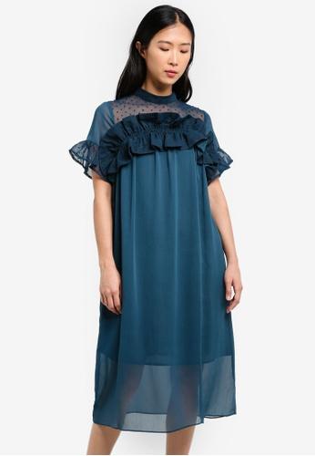 LOST INK green and blue Frill Ruffle & Dobby Midi Shift Dress LO238AA0RVKFMY_1