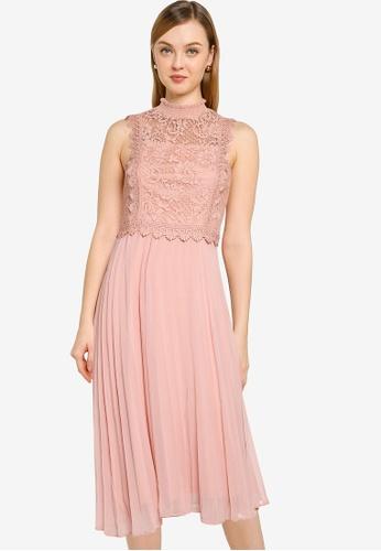 Dorothy Perkins pink Nude Lace Pleated Midi Dress A7063AA7E9A8F2GS_1