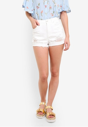TOPSHOP white Moto Ripped Mom Shorts TO412AA0RMWSMY_1