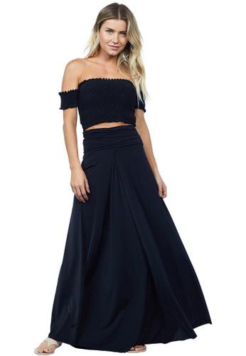 Cia Maritima black Gel Long Skirt E133AAA4F16462GS_1