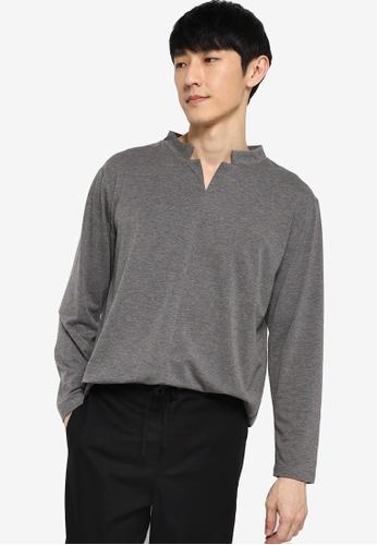 ZALORA BASICS grey Stand Collar Notched Long Sleeves T-Shirt 8D152AAA9CF384GS_1