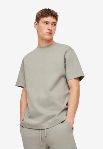 MANGO Man green Plain Cotton T-Shirt FE6A2AA3DF9379GS_1