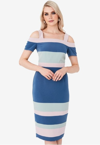 Paper Dolls blue Multi Stripes Midi Dress E78DCAAAA5D2BEGS_1