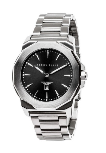 PERRY ELLIS silver Perry Ellis Decagon Unisex 42mm Quartz Stainless Steel Watch 08001-02 9D714ACCE050CDGS_1