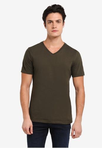 Topman green Khaki Slim V Neck T-Shirt 43D08AA27F43ECGS_1