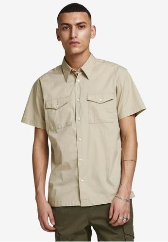 Jack & Jones beige Paul Solid Short Sleeves Worker Shirt C4A06AA183E7C0GS_1