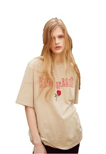17SS玫瑰刺繡米色T恤,esprit 香港 服飾, 上衣