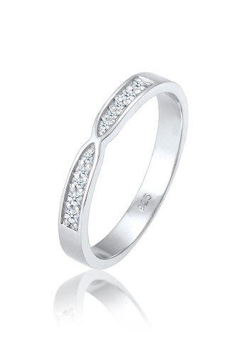 Elli Germany silver Perhiasan Wanita Perak Asli - Silver Cincin Statement Basic Diamond 8A57AAC460C9C3GS_1
