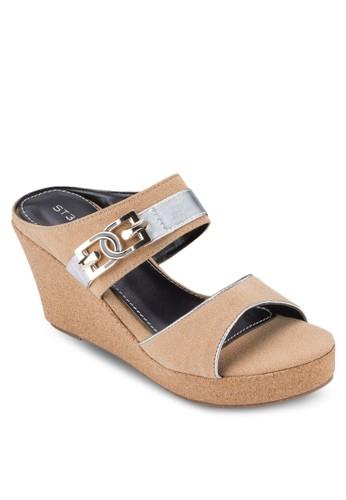 金飾esprit 台北雙寬帶楔型鞋, 女鞋, 楔形涼鞋