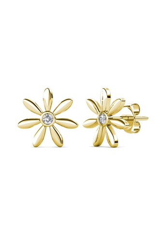 Her Jewellery gold Petra Earrings (Yellow Gold) - Made with premium grade crystals from Austria 465E3ACE8CE196GS_1
